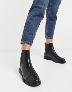 Черные кожаные ботинки челси на плоской подошве Dune-Черный