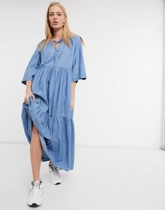 Светло-голубое платье Selected Joy-Голубой