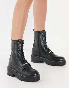 Черные ботинки на шнуровке Stradivarius-Черный