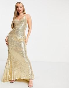 Золотистое платье макси на бретельках с отделкой пайетками, открытой спиной и юбкой годе Club L-Золотистый