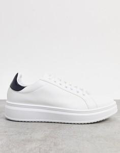Белые кроссовки с контрастной вставкой на заднике ASOS DESIGN-Белый