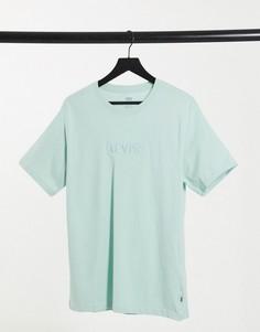 Серая футболка с вышитым логотипом Levis-Серый