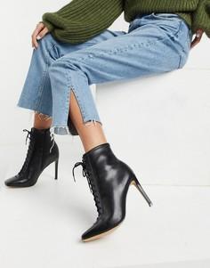 Черные кожаные ботинки на шнуровке и каблуке-шпильке ALDO Cyril-Черный