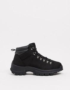 Черные походные ботинки из искусственной замши ASOS DESIGN-Черный