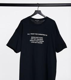 Oversized-футболка с новогодним принтом желаний New Girl Order Curve-Черный