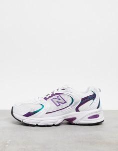 Бело-фиолетовые кроссовки New Balance 530-Белый