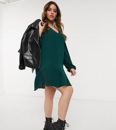 Зеленое платье мини с длинными рукавами, V-образным вырезом и асимметричным подолом ASOS DESIGN Curve-Зеленый