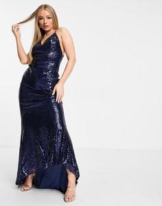 Темно-синяя платье макси на бретельках с отделкой пайетками, открытой спиной и юбкой годе Club L-Темно-синий