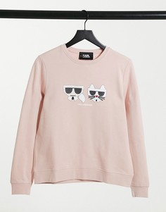 Розовая футболка с логотипом Karl Lagerfled Kocktail Karl Choupette-Розовый