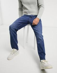 Синие выбеленные джинсы прямого кроя River Island-Голубой