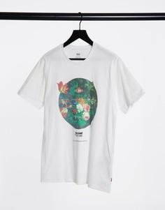 Белая футболка с круглым цветочным принтом на груди Levis-Белый