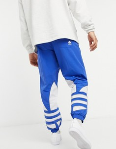 Синие джоггеры с большим трилистником adidas Originals-Синий