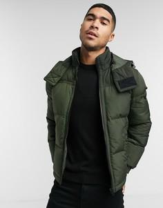 Дутая куртка с капюшоном BOSS Olooh1-D цвета хаки-Зеленый