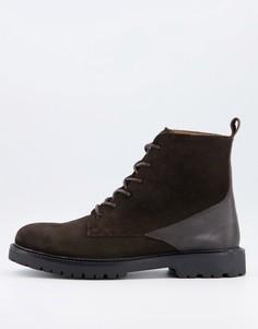 Коричневые замшевые ботинки на массивной подошве и шнуровке H by Hudson Perry-Коричневый