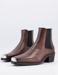 Коричневые ботинки-челси в стиле вестерн из искусственной кожи c квадратным металлическим носком ASOS DESIGN-Коричневый