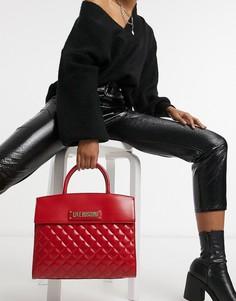 Красная стеганая сумка-тоут с ручками Love Moschino-Красный