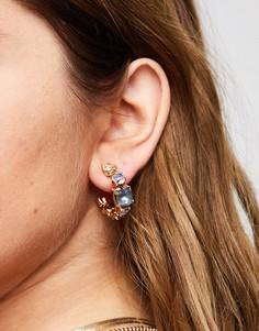 Золотисто-фиолетовые серьги-кольца с камнями ALDO Euca-Золотистый