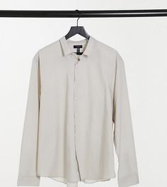 Светло-бежевая поплиновая рубашка с длинными рукавами New Look Plus & Tall-Светло-бежевый