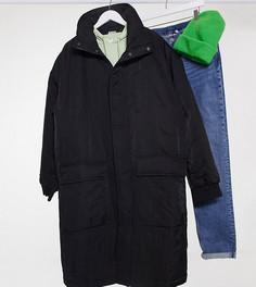 Черный длинный куртка-пуховик в стиле унисекс Reclaimed Vintage Inspired