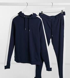 Темно-синий спортивный костюм с худи и полосой по бокам ASOS DESIGN Tall