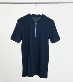 Темно-синяя футболка с воротником-стойкой на молнии из трикотажа с вафельной фактурой ASOS DESIGN Tall-Темно-синий