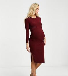 Базовое трикотажное платье миди бордового цвета с длинными рукавами Flounce Maternity-Фиолетовый