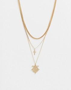 Золотистое ярусное ожерелье с подвеской в виде креста и монетки Liars & Lovers-Золотистый