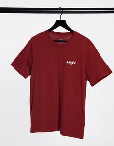 Коричневая футболка свободного кроя с маленьким вышитым логотипом Levis-Коричневый