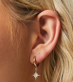 Позолоченные серьги-кольца в стиле хагги с подвеской в виде звезды Orelia-Золотистый