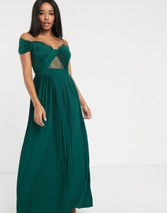 Зеленое плиссированное платье макси с кружевом и открытыми плечами ASOS DESIGN Fuller Bust Premium-Зеленый