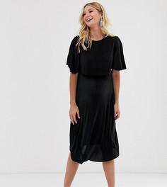 Черное плиссированное платье миди для кормящих мам с кроп-топом ASOS DESIGN Maternity-Черный