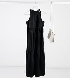 Черное ярусное платье макси с халтером Vila Petite-Кремовый