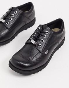 Ботинки на плоской подошве со шнуровкой из черной кожи Kickers kick low luxx-Черный