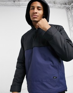 Черно-синий анорак без застежки в стиле колор блок Only & Sons-Голубой