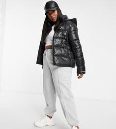 Блестящий черный пуховик Calvin Klein Jeans Plus