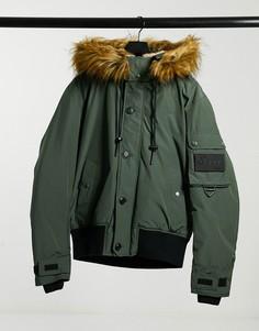 Дутая куртка цвета хаки со съемным капюшоном и искусственным мехом Diesel W-Jame-Зеленый
