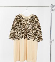 Бежевое платье-футболка в стиле oversized с леопардовым принтом наполовину ASOS DESIGN Curve-Многоцветный