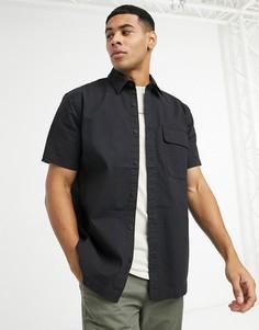 Черная рубашка из ткани рипстоп Topman-Черный