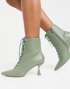 Шалфейно-зеленые ботинки на шнуровке с заостренным носком ASOS DESIGN Ricky-Зеленый