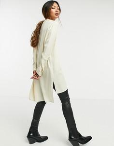 Белая удлиненная рубашка без воротника Selected Femme-Белый