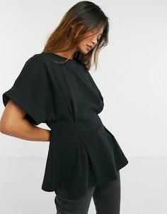 Черная футболка с узкой талией Selected Femme-Черный
