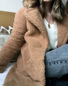 Светло-коричневая шуба из искусственного меха Abercrombie & Fitch-Коричневый
