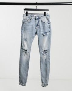 Синие супероблегающие джинсы с эффектом кислотной стирки Bershka-Голубой
