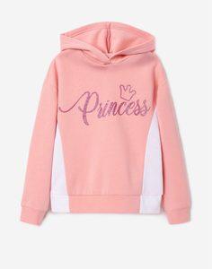 Розовое худи oversize со вставками для девочки Gloria Jeans
