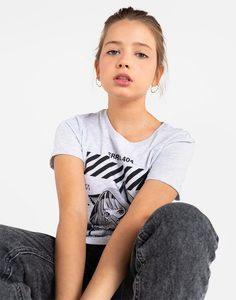 Серая футболка с принтом для девочки Gloria Jeans