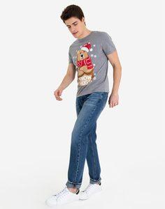 Серая футболка с новогодним принтом Gloria Jeans