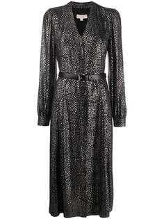 Michael Michael Kors платье с эффектом металлик и V-образным вырезом