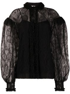 Fendi кружевная блузка с пышными рукавами