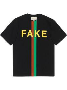 Gucci футболка с принтом Fake/Not