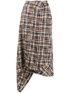LANVIN твидовая юбка асимметричного кроя